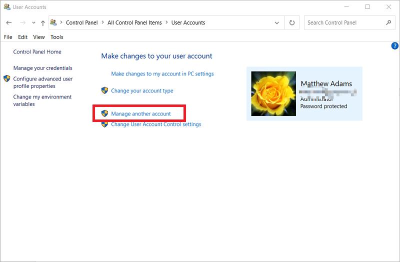 The User Accounts applet on Windows 10
