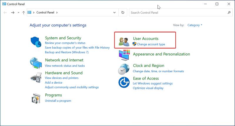 User accounts on Windows 10