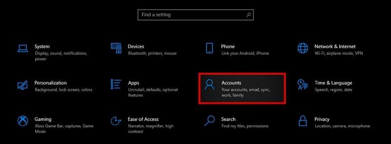 Accounts on Windows 10 settings