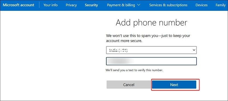 Add phone number on Microsoft account