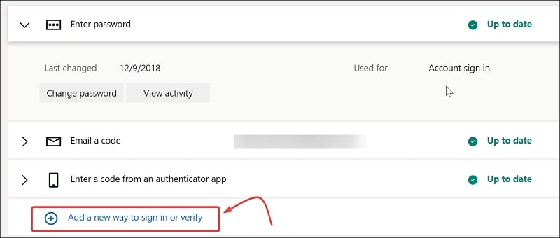 Add a new way to sign in Microsoft account