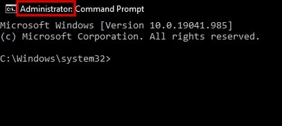 Administrator command prompt in Windows 10