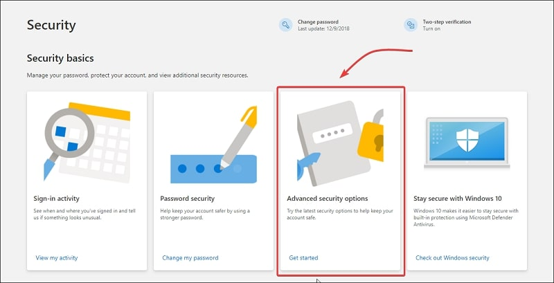 Advanced Security Options on Microsoft account page