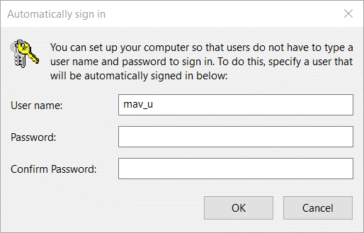 The Automatically sign-in window on Windows 10