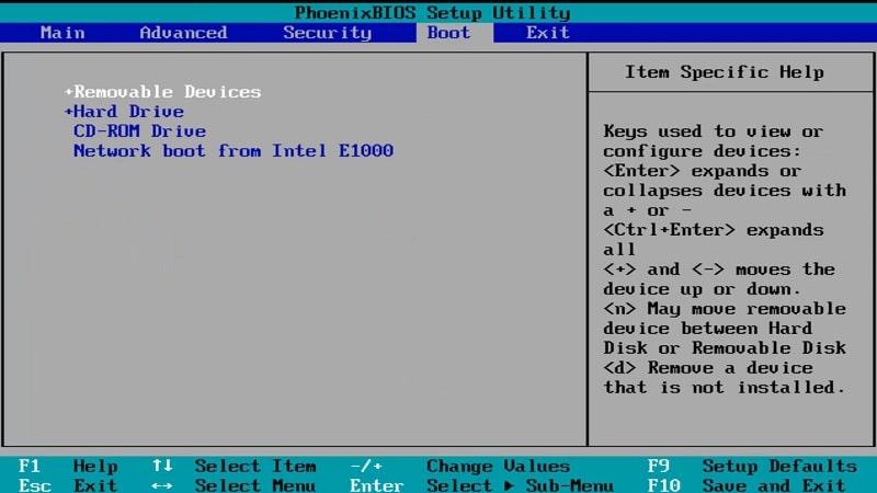 A BIOS Boot tab on Windows 10