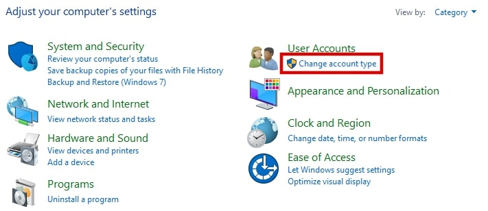 Change account type under User Accounts Windows 10