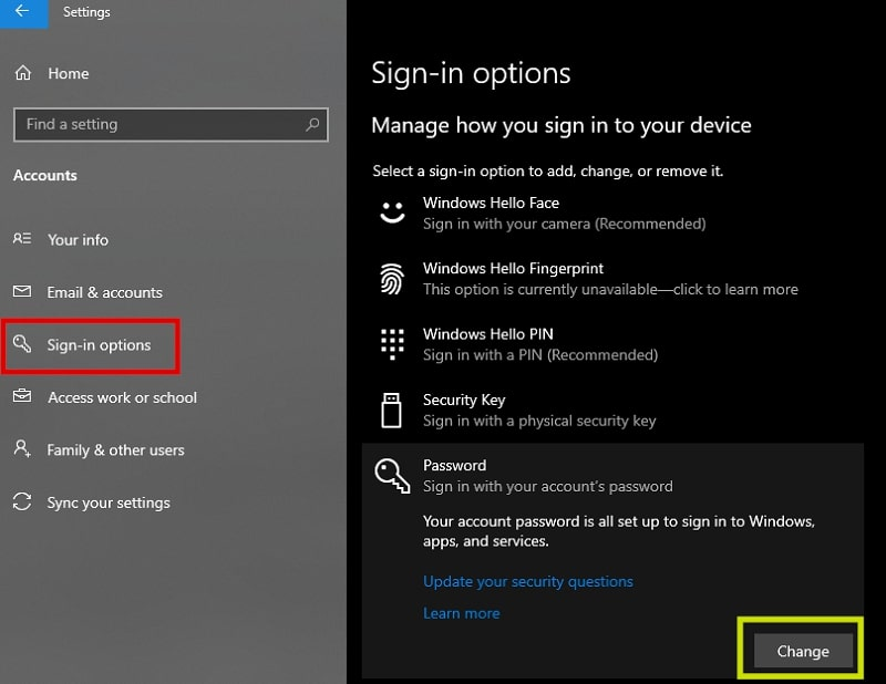 Change password on Sign-in options Windows 10