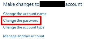 Change the password on Windows 10