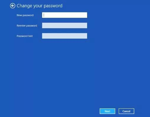 changing your Windows 8 password from settings
