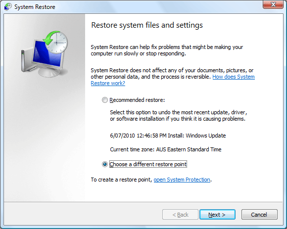 Choosing a different restore point option in the System Restore interface screen