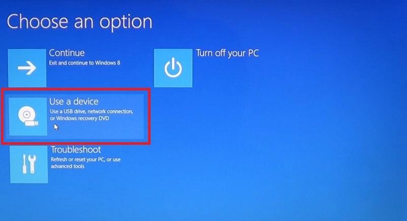 The Choose an option menu on Windows 10
