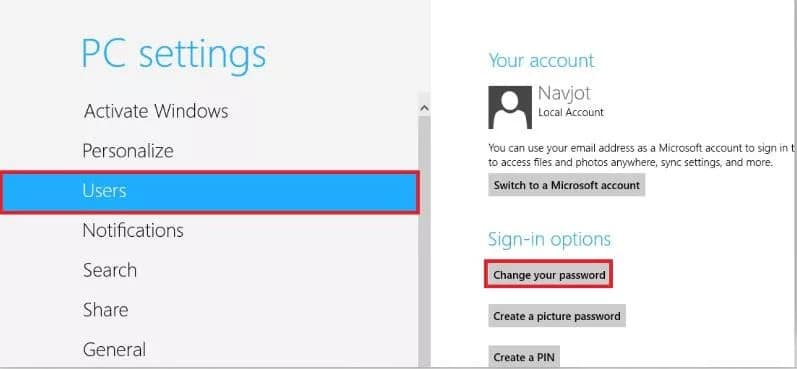 click on change your password on Windows 8