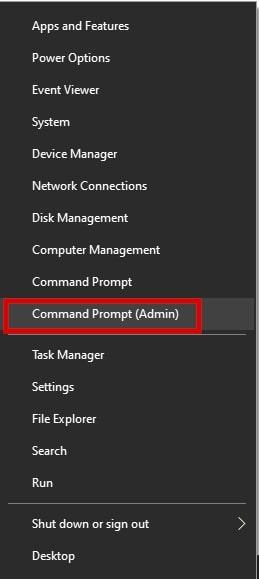 Command prompt (Admin) option in the WinX menu Windows 10