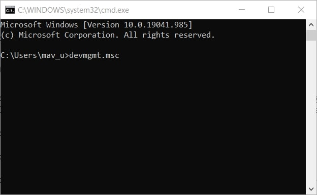 The devmgmt.msc command to open device manager Windows 10