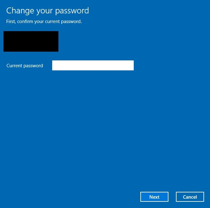 Confirm your current password before change it on Windows 10