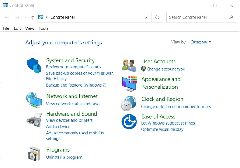 The Control Panel in Windows 10