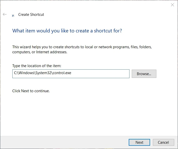 Create a shortcut for control panel as admin on Windows 10