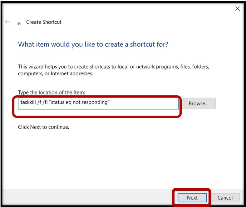 Create a shortcut to force quick programs on Windows 10