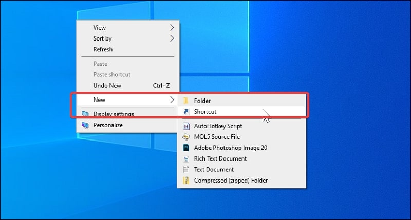 Create a new shortcut on Windows 10