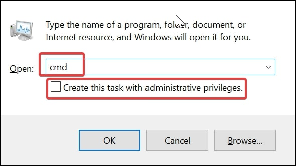 Run new task cmd to open Command Prompt on Windows 10