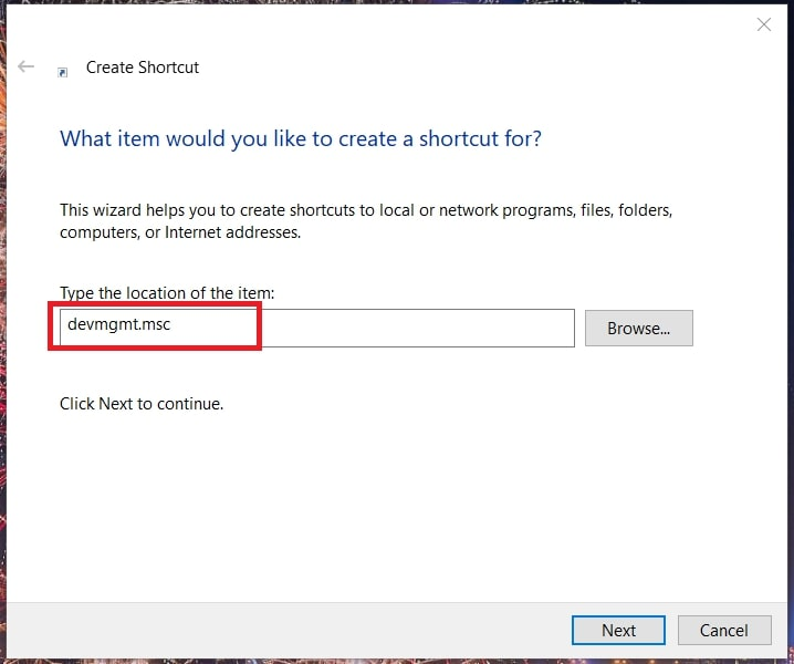 Create Shortcut for device manager Windows 10