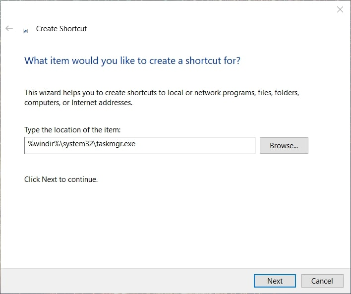 Create shortcut for task manager on Windows 10