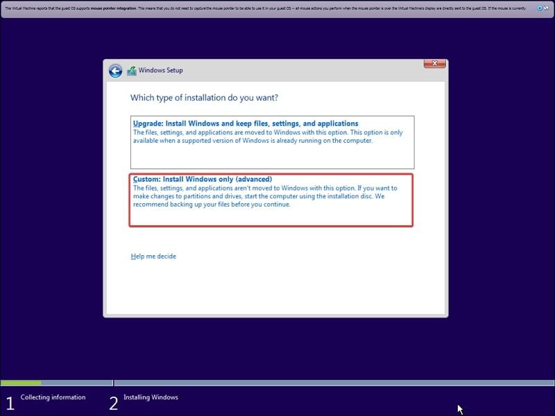 Custom: Install Windows only (advanced) on Windows 10