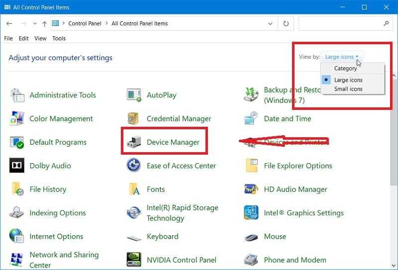 Device manager on Control Panel