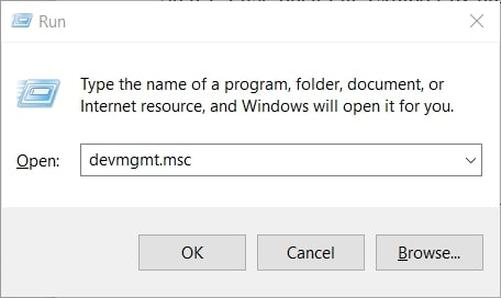 The devmgmt.msc Run command to open device manager Windows 10
