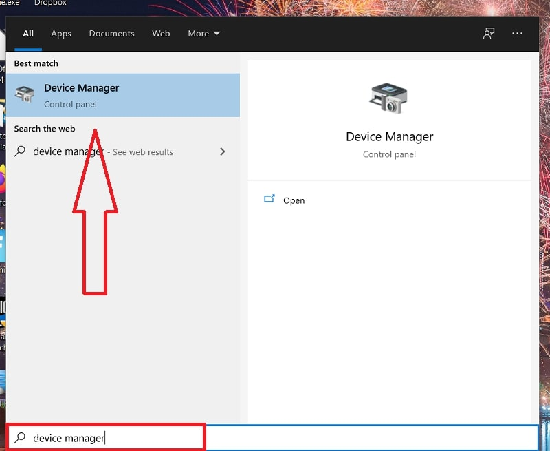A Device Manager search on Windows 10