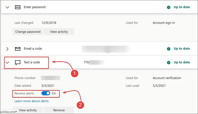 Enable receive alerts on phone number
