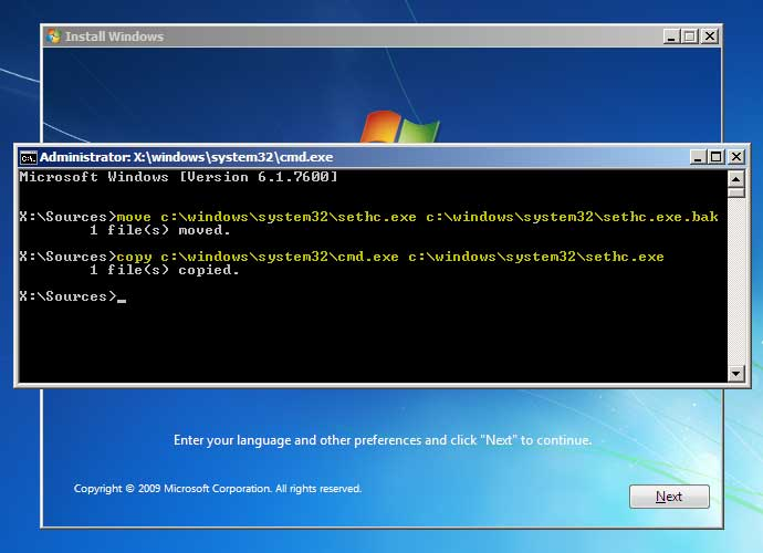 Enter commands on Windows 7 from installation disk