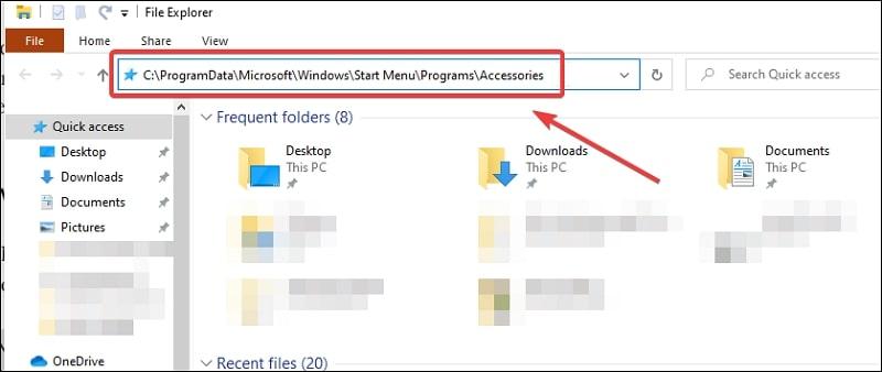 File explorer accessories installation folder Windows 10