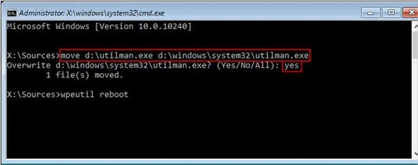 command prompt showing the command to replace the utility center back after hacking Windows 10 password