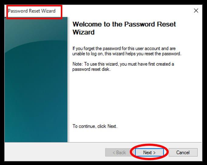 Password reset wizard setup screen - proceed and hack Windows 10 admin password
