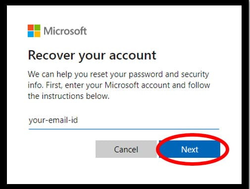 Microsoft password reset page asking for the user's email id to recover the user accounts