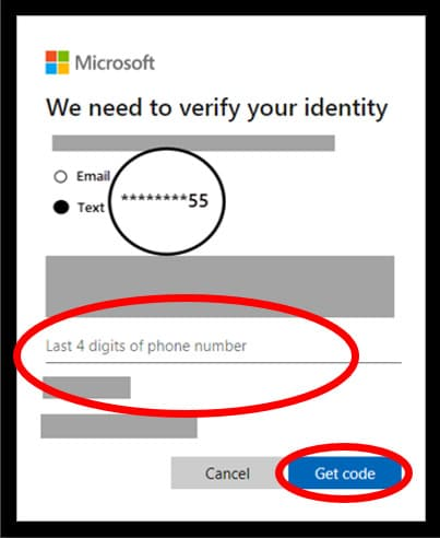 Microsoft Password reset page highlighting the options to hack into Windows 10 admin password using that