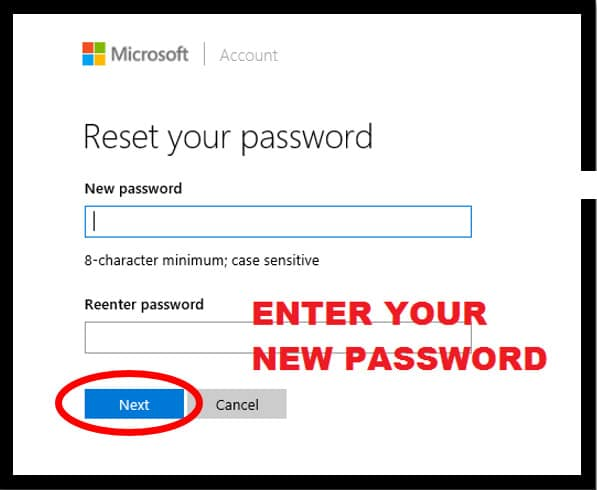 Microsoft Password Reset page highlighting the new password screen