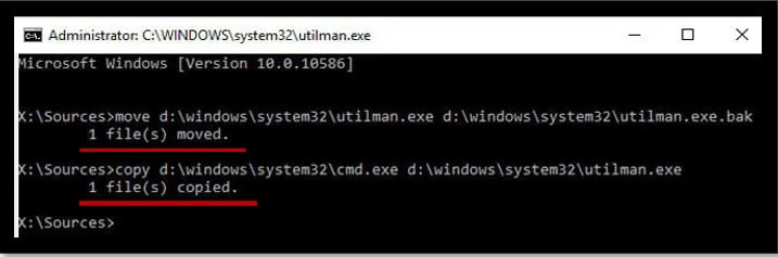 Command Prompt displaying the command to replace the utility center at the Windows 10 lock screen