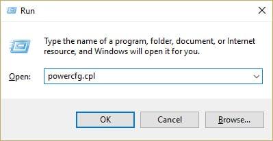 Adjust Brightness on Windows 10 from Control Panel – Run Power Options