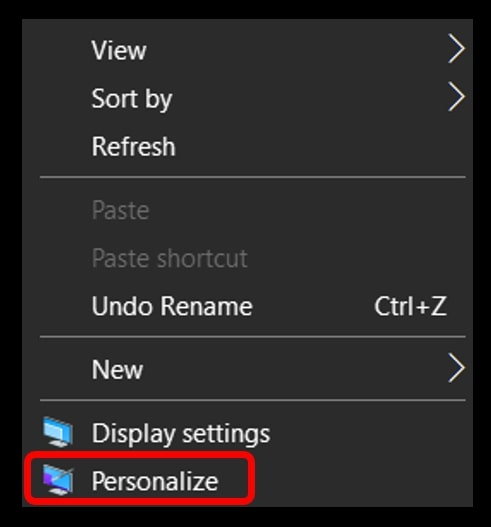 Right click the Personalization option to change the Wallpaper on Windows 10