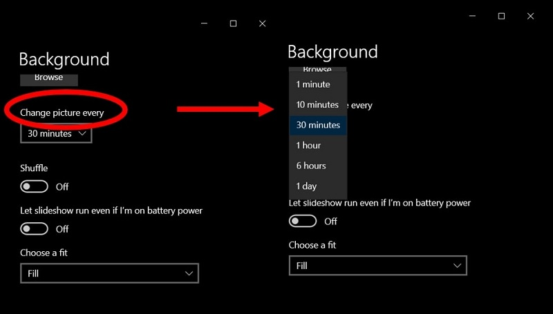 the time interval features to change the desktop background on Windows 10