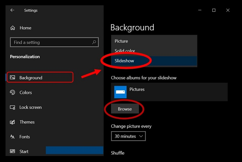 how to set a slideshow on Windows 10