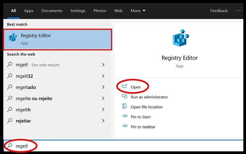 Search bar highlight the registry editor in Windows 10