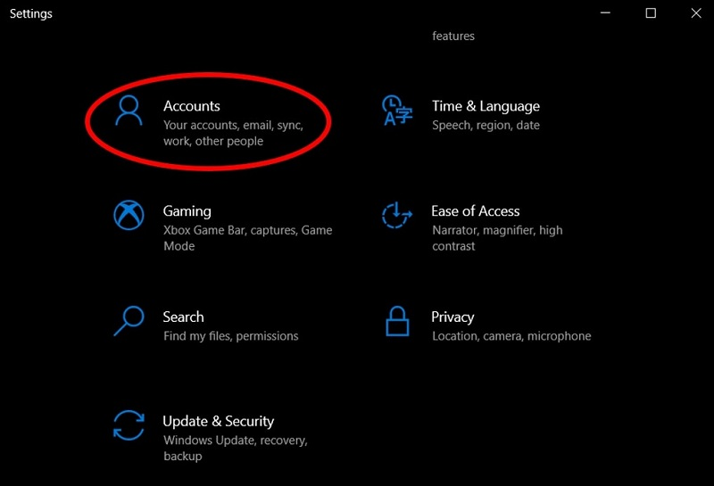 Settings menu highlighting the Accounts option to remove auto-login in Windows 10
