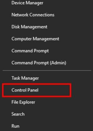 Power user menu on Windows 10 with Control Panel