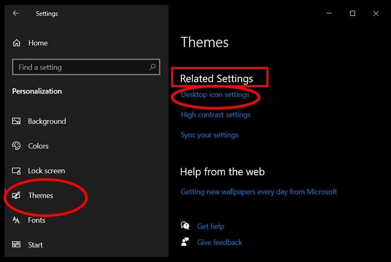 Personalization option on Settings menu to access Desktop Shortcuts