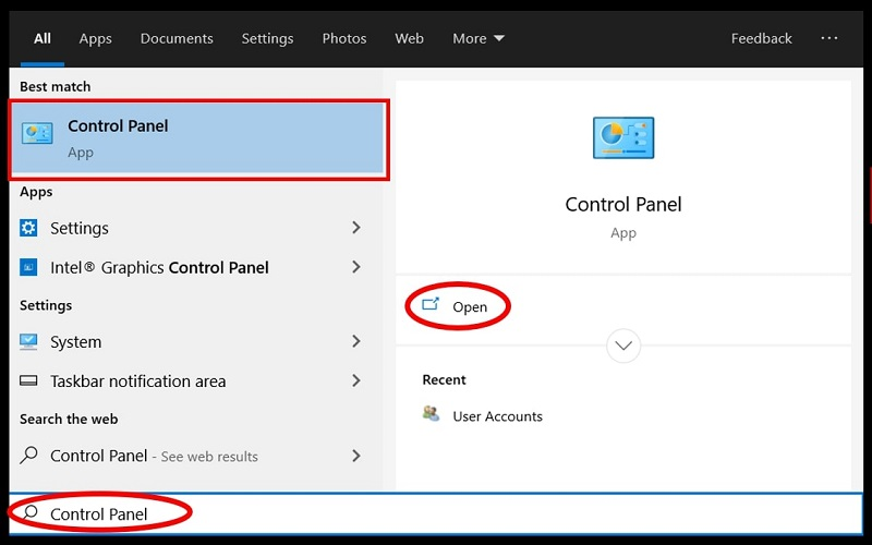 Make a search of the Control Panel on Windows 10