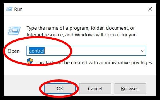 Run dialog box to open Control Panel in Windows 10