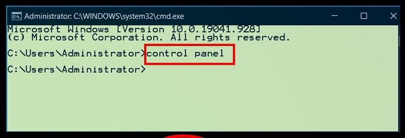 Command Prompt to open Control Panel in Windows 10